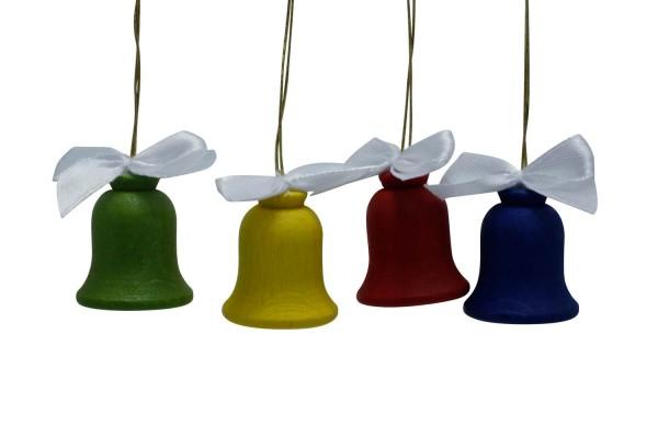 4 farbige Glocken mit Schleife von Nestler-Seiffen