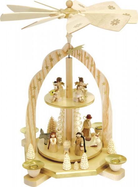 Weihnachtspyramide Christi Geburt mit Engeln, 2-stöckig, Richard Glässer GmbH Seiffen/ Erzgebirge