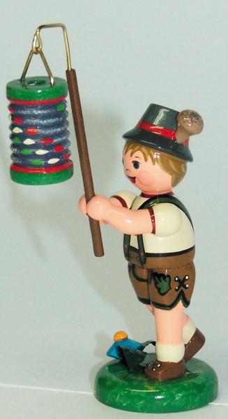 Dekofigur Junge aus Holz mit Lampion aus der Serie Hubrig Lampionkinder