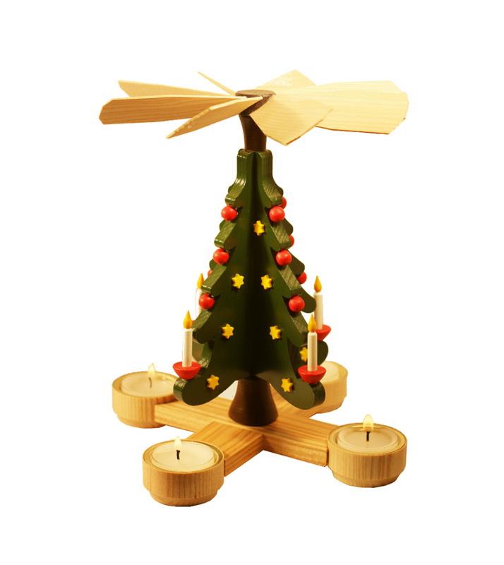 Weihnachtspyramide & Tischpyramide Weihnachtsbaum für Teelichter, 23 cm, Spielwarenmacher Günther Seiffen/ Erzgebirge
