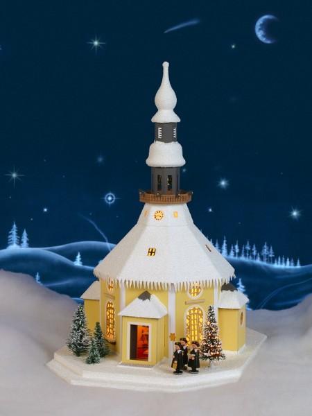 Lichterhaus Seiffener Kirche mit Kurrende und Weihnachtsbaum, elektrisch innenbeleuchtet, 26 x 42 x 32 cm, Birgit Uhlig Olbernhau/ Erzgebirge