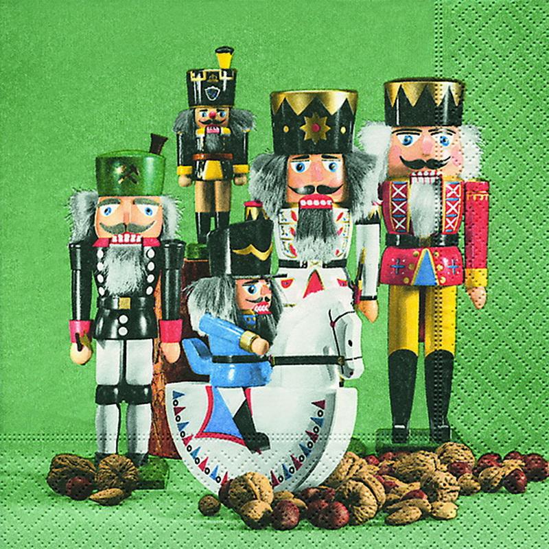 Weihnachtsservietten mit Nussknackerparadenmotiv, 20 Stück, 3 - lagig, 33 x 33 cm