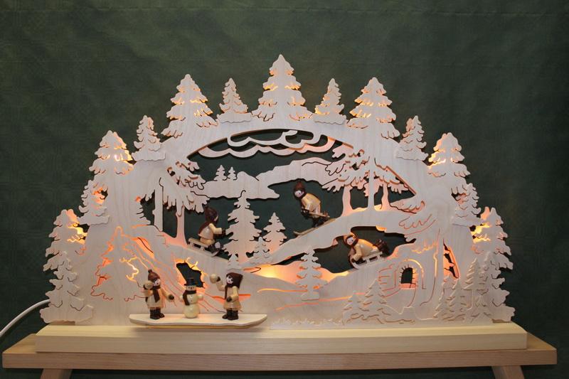 Schwibbogen Winterlandschaft, groß, indirekte Beleuchtung, natur, 63 cm x 38 cm, Romy Thiel Deutschneudorf/ Erzgebirge