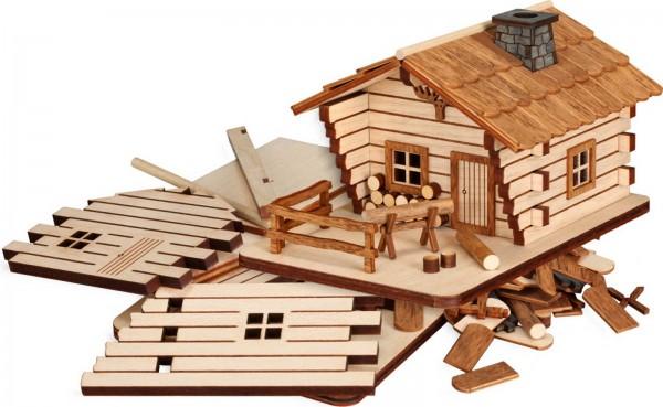 Bastelset Räucherhaus Blockhütte aus Holz zum selber bauen