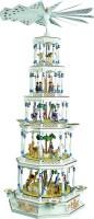 Vorschau: Weihnachtspyramide Christi Geburt, 5 - stöckig, Spielwerk, Spielwerk mit Melodie: Stille Nacht, 123 cm hoch, Richard Glässer GmbH Seiffen/ Erzgebirge