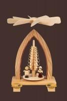 Vorschau: Weihnachtspyramide mit Lampionkinder, natur, 26 cm hergestellt von Heinz Lorenz Olbernhau/ Erzgebirge_Bild2