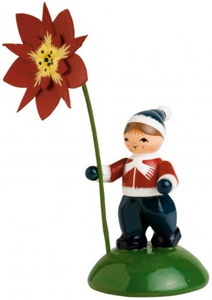 KWO Blumenkind Junge mit Weihnachtsstern Blumenkinder aus dem Erzgebirge