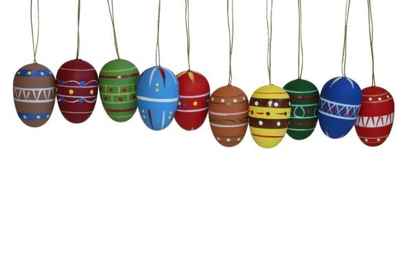 Ostereier, handbemalt, farbig, 3 cm, 10 Stück von Nestler-Seiffen.com OHG Seiffen/ Erzgebirge