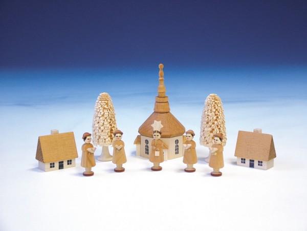 Kurrende mit Seiffener Kirche, natur, 11 cm, Knuth Neuber Seiffen/ Erzgebirge