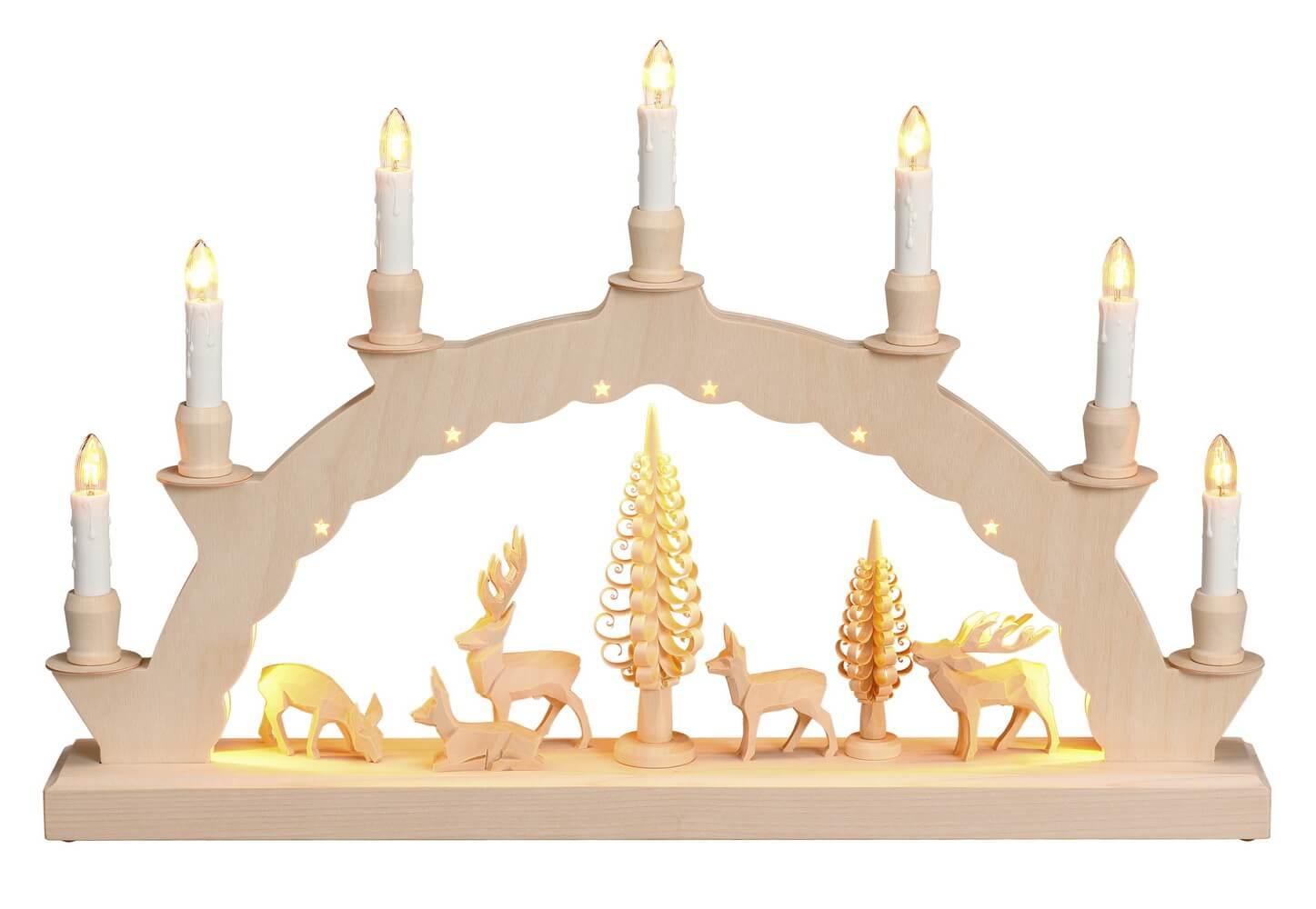 LED Schwibbogen mit dem Motiv geschnitzte Hirsche und 2-facher Beleuchtung von Nestler-Seiffen_Bild1