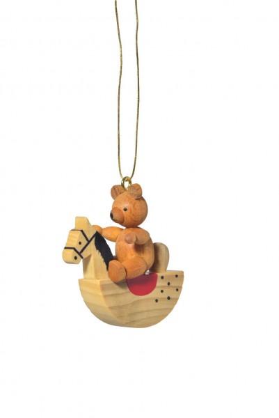 KWO Christbaumschmuck Teddy auf Schaukelpferd zum Hängen für Ihren Weihnachtsbaum
