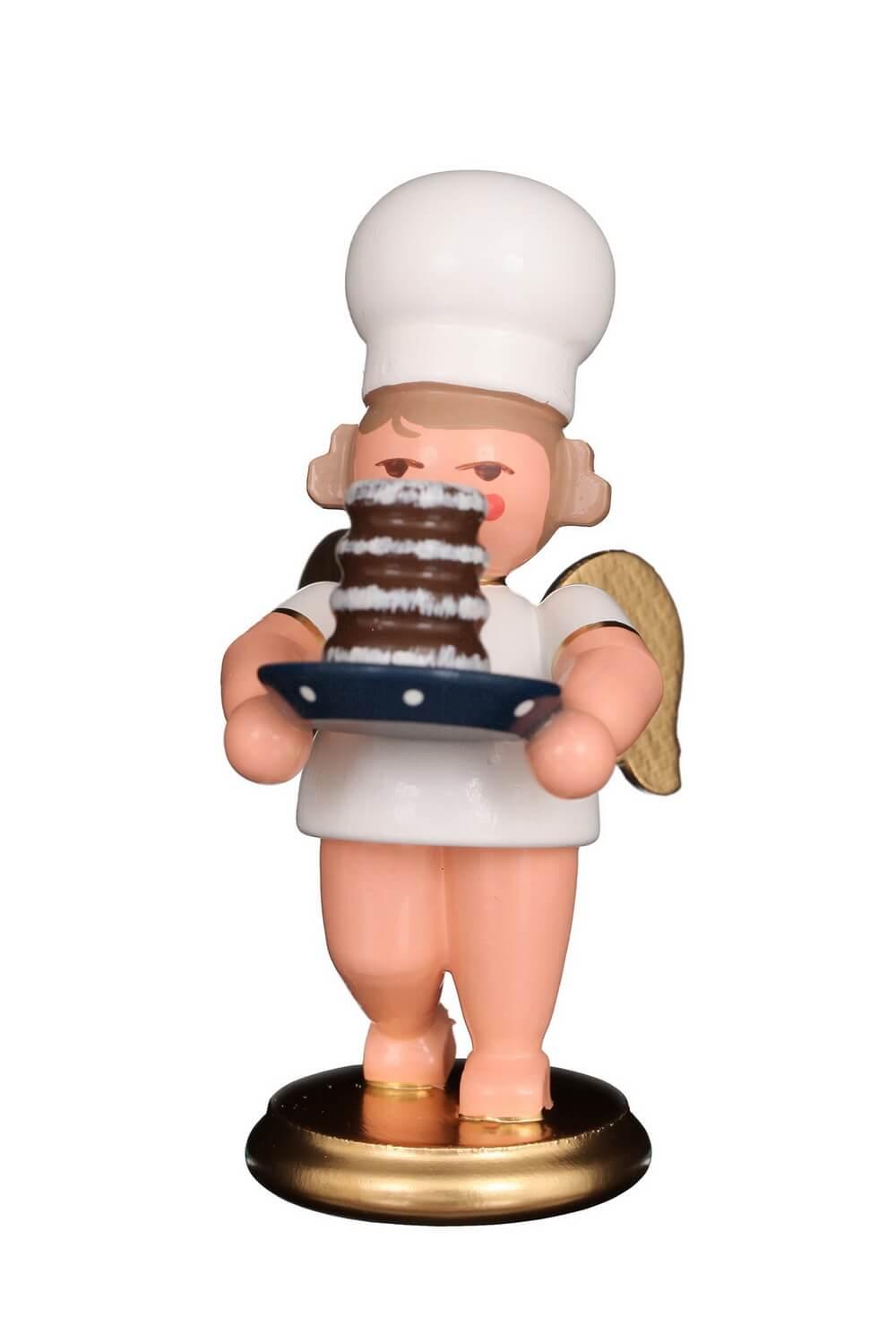 Weihnachtsengel - Bäckerengel mit Baumkuchen, 8 cm von Christian Ulbricht GmbH & Co KG Seiffen/ Erzgebirge