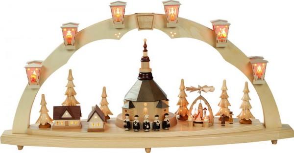 Schwibbogen Seiffener Kirche mit Weihnachtspyramide, komplett elektrisch beleuchtet, 41 x 80 cm,Richard Glässer GmbH Seiffen/ Erzgebirge
