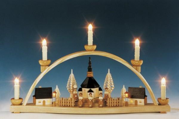 Schwibbogen Seiffener Kirche beleuchteten Häusern und Laternen, natur, komplett elektrisch beleuchtet, 51 cm, Knuth Neuber Seiffen/ Erzgebirge