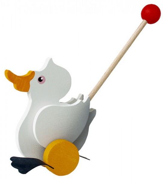 Ein toller Mini- Pelikan für den Spielspaß zu Hause. Beim Anschieben watschelt der lustige Gefährte bei jeder Umdrehung der Räder mit den Füßen. Durch die …