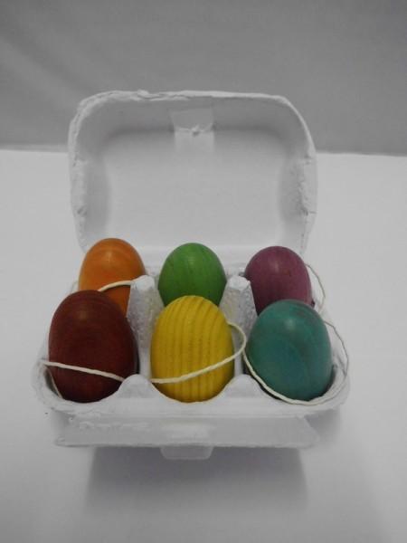 Ostereier, handbemalt, 6 Stück im Eierkarton von Nestler-Seiffen