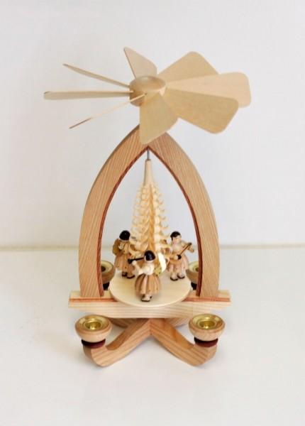 Weihnachtspyramide Kurzrockengel, 28 cm hergestellt von Heinz Lorenz aus Olbernhau