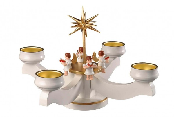 Albin Preißler Adventsleuchter mit 4 sitzenden Engeln, weiß, für Teelichter