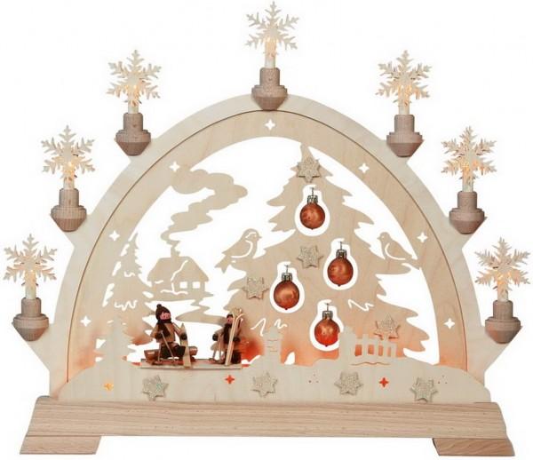 KWO Schwibbogen Motiv Tannenbaum mit Figuren aus dem Erzgebirge elektrisch beleuchtet