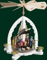 Vorschau: Weihnachtspyramide Heilige Drei Könige, weiß, 27 cm, Richard Glässer GmbH Seiffen/ Erzgebirge