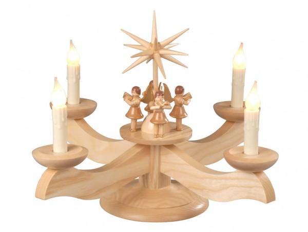 Albin Preißler Adventsleuchter mit 4 stehenden Engeln, natur, elektrisch beleuchtet