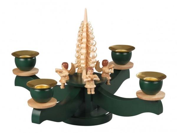 Albin Preißler Adventsleuchter, grün mit 4 sitzenden naturfarbenen Engeln