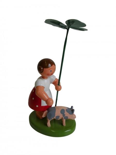 Blumenkinder - Blumenkind Mädchen mit Reifentier (Glücksschwein) und Glücksklee, 10 cm von WEHA-Kunst Dippoldiswalde/ Erzgebirge