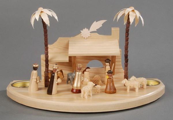 Sockelbrett, Weihnachtskrippe orientalisch - großer Sockel,Figuren gedrechselt, in Handarbeit bemalt, Reifentiere in Handarbeit gedrechselt, geschnitzt, …