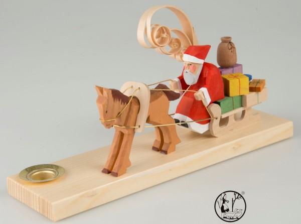 Weihnachtskerzenhalter, geschnitzter Weihnachtsmann auf Schlitten, 8 cm, Bettina Franke Deutschneudorf/ Erzgebirge