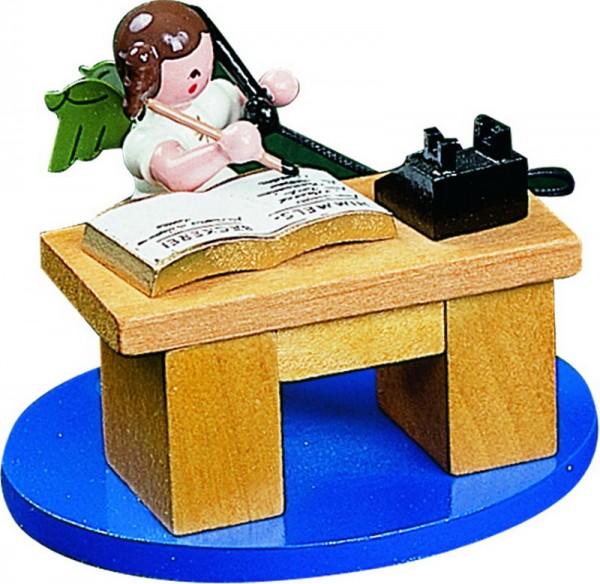Weihnachtsengel am Schreibtisch, 6 cm, Richard Glässer GmbH Seiffen/ Erzgebirge