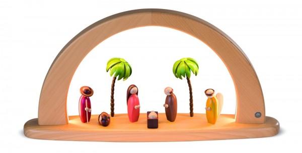 Moderner LED Lichterbogen von Müller Kleinkunst mit der Heiligen Geschichte, farbig, 49 cm