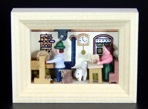 Miniatur im Rähmchen Drehstube von Gunter Flath aus Seiffen / Erzgebirge Detailgetreue Nachbildung einer Drehstube aus früheren Zeiten. Diese Drehstube wurde …