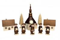 Vorschau: Nestler-Seiffen, Weihnachtsfiguren Seiffener Dorf mit Kirche, Kurrende_Bild1