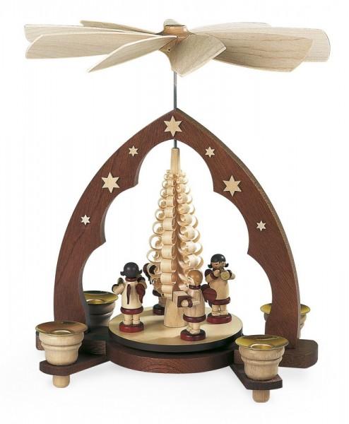 Weihnachtspyramide mit Musikantenengel Spitzbogen, natur, 22 x 15 x 28 cm, Müller GmbH Kleinkunst aus dem Erzgebirge