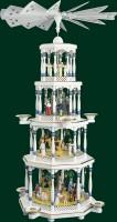 Vorschau: Weihnachtspyramide Christi Geburt, 4 - stöckig, weiß, 94 cm hoch, Richard Glässer GmbH Seiffen/ Erzgebirge