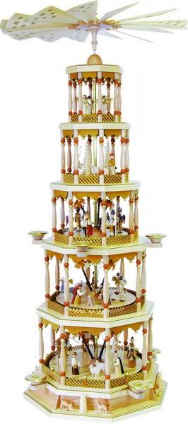 Weihnachtspyramide Christi Geburt, 5 - stöckig mit 28er Spielwerk, Melodie: Stille Nacht, 123 cm, Richard Glässer GmbH Seiffen/ Erzgebirge