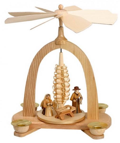 Weihnachtspyramide mit Krippenfiguren, natur, 23 cm hergestellt von Theo Lorenz aus Seiffen