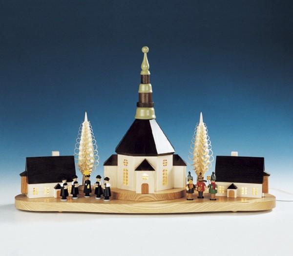 Sockelbrett Weihnachtsberg mit kleiner Kurrende und Laternenkinder, komplett elektrisch beleuchtet, 31 x 52 cm, Knuth Neuber Seiffen/ Erzgebirge