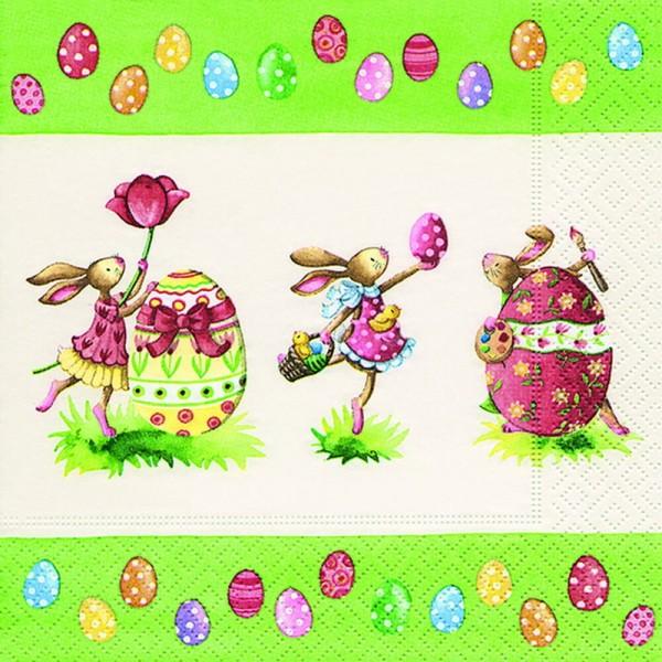 Osterservietten mit Osterhasen und Ostereiermotiv, 20 Stück, 3 - lagig, 33 x 33 cm Servietten aus sauerstoffgebleichtem Zellstoff, besonders dekorativ und …