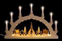 Vorschau: Schwibbogen elektrisch beleuchtet mit dem Motiv Seiffener Dorf mit 3-facher Beleuchtung von Nestler-Seiffen_Bild2