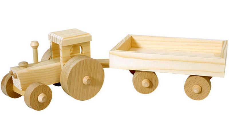 Das Traktor aus Holz in natur mit seinem Anhänger hat genau die richtige Größe, um von Kinderhänden optimal geschoben und bewegt werden zu können. Für …