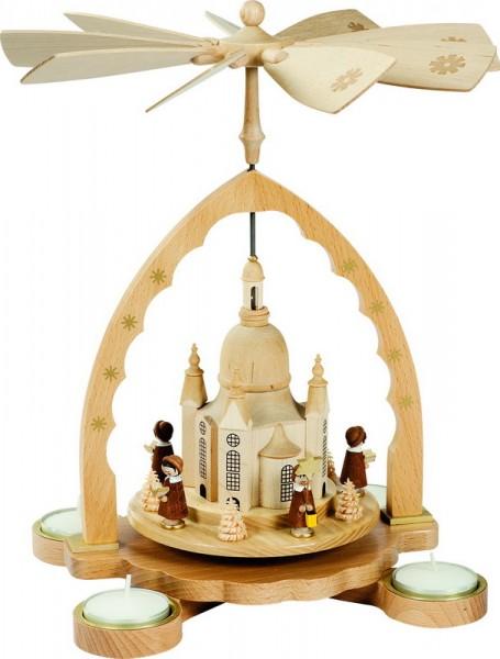 Weihnachtspyramide Frauenkirche mit Kurrende für Teelichter, 27 cm, Richard Glässer GmbH Seiffen/ Erzgebirge