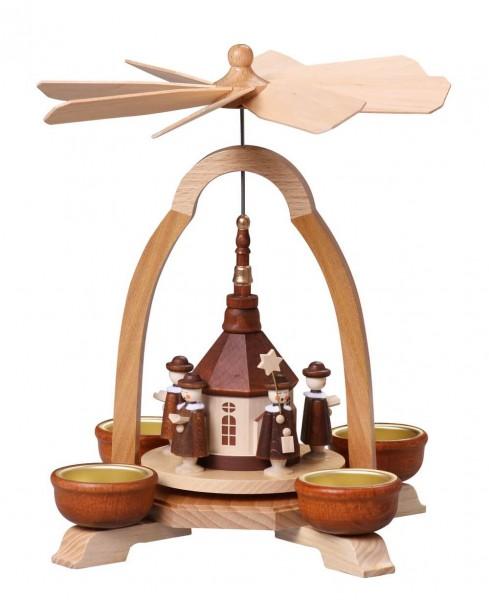 Weihnachtspyramide mit Seiffener Kirche für Teelichte, 24 cm von Thomas Preißler Seiffen/ Erzgebirge Höhe: ca. 24 cm Betrieb mit Teelichte Material: heimische …
