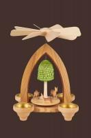 Vorschau: Teelichtpyramide mit Rehkitze, 26 cm hergestellt von Heinz Lorenz Olbernhau/ Erzgebirge_Bild2