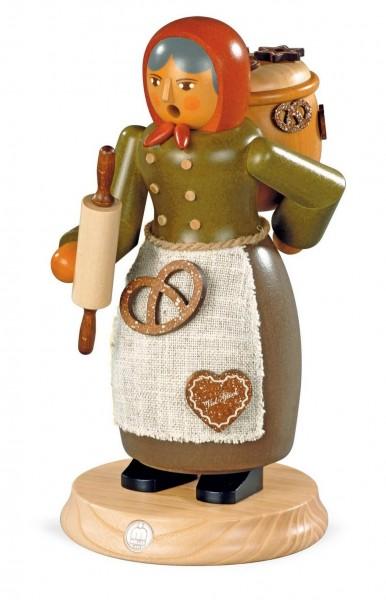 Räuchermann Lebkuchenverkäuferin aus Holz von Müller Kleinkunst aus Seiffen