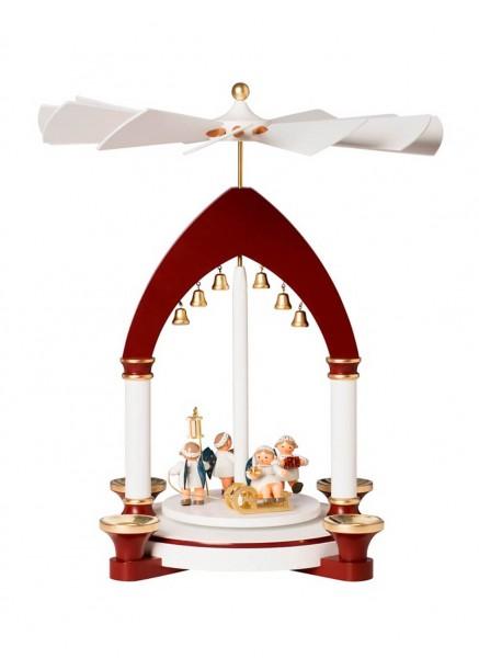 KWO Weihnachtspyramide mit Weihnachtsengeln Motiv Himmlische Bescherung