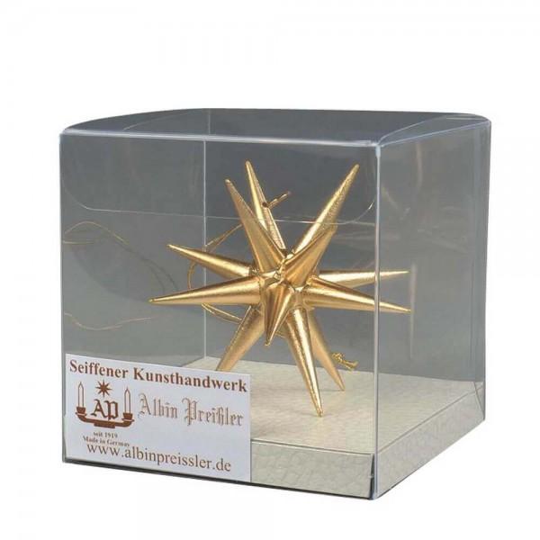 Christbaumschmuck aus Holz, Weihnachtsstern gold, 7 cm hergestellt von Albin Preißler