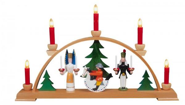 Eckert, Schwibbogen Seiffener Motiv mit roten Kerzen