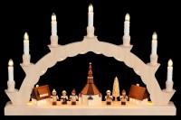 Vorschau: LED Schwibbogen von Nestler-Seiffen mit dem Motiv Seiffener Dorf mit Thiel Kinder und 3-facher Beleuchtung_Bild2