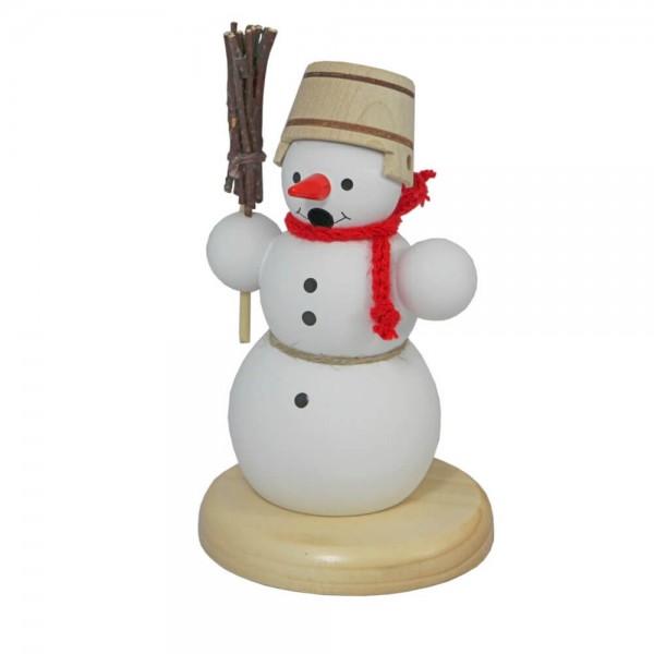Räuchermännchen Schneemann mit Besen, 13 cm von Volker Zenker aus Seiffen